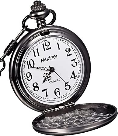 Amazon.com: Mudder Classic Smooth Vintage Steel Mens Pocket Watch .