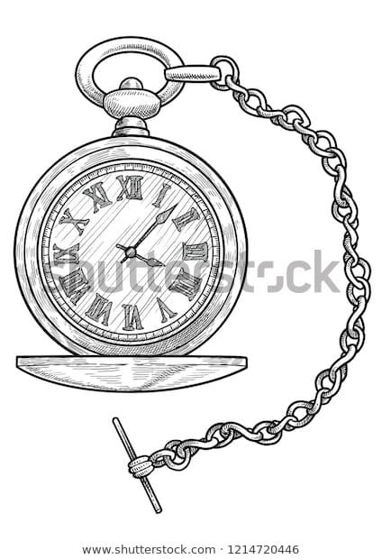 Pocket Watch Illustration Drawing Engraving Ink Stock Vector .