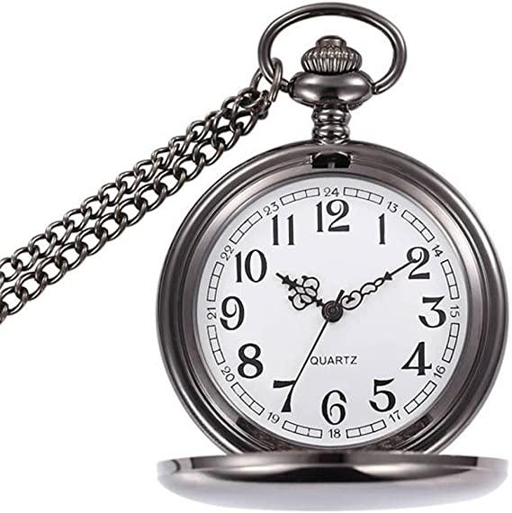 Amazon.com: WIOR Classic Smooth Vintage Pocket Watch Silver Steel .