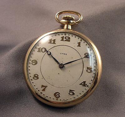 Old Pocket Watch - Swiss Cyma 7 Jewels - WWC Rambler Gold Filled .