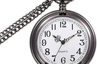 Amazon.com: WIOR Classic Smooth Vintage Pocket Watch Silver Steel .