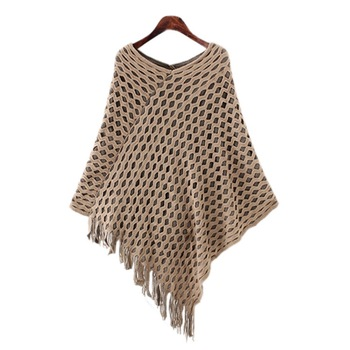 Fashion Women Sweaters Long Design Fringed Poncho Sweater Woolen .