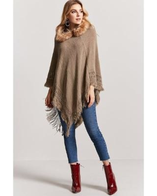 The Best Sales for Forever21 Faux Fur Hooded Poncho Sweat
