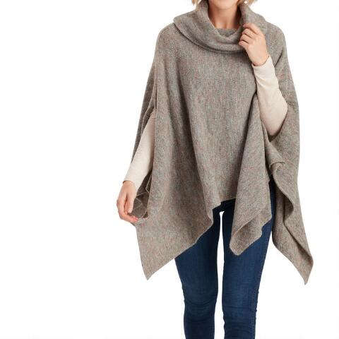 Marled Gray Cowl Neck Poncho Sweater | World Mark