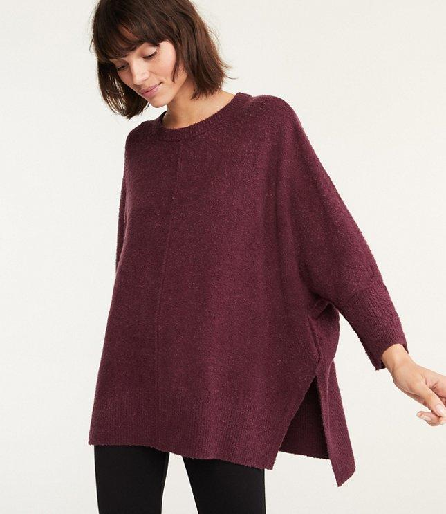 LOFT | Lou & Grey for LOFT Poncho Sweater in Rich Aubergine .