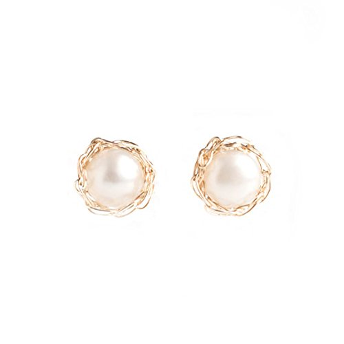 Amazon.com: Gold small Pearl studs , Bridesmaids pearls , Pearl .