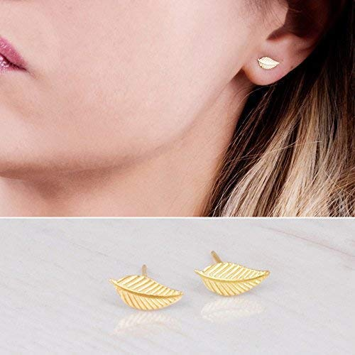Amazon.com: Tiny Gold Leaf Stud Earrings - Designer Handmade Small .