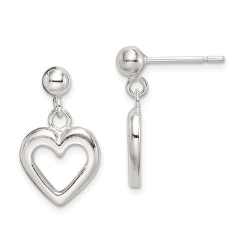 Sterling Silver Polished Dangle Heart Post Earrings - Kennebec Jewel