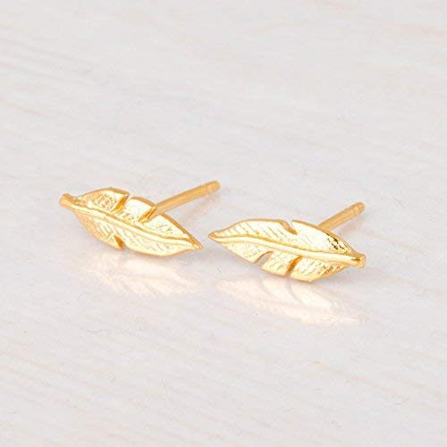 Amazon.com: Gold Feather Stud Earrings - Designer Handmade .