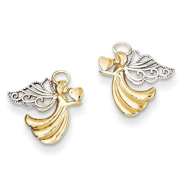 Shop Versil 14 Karat and Rhodium Angel with Heart Post Earrings .