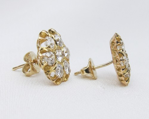 Victorian Diamond Cluster Post Earrings | Circa 1900 18KT Gold .