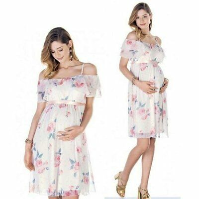 Pregnant Women Summer Casual Off Shoulder Dress Floral Maternity .