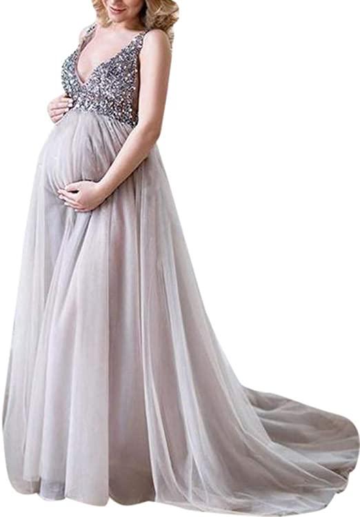 FRana Maternity Dresses for Women Sexy Pregnant Sling V Neck .
