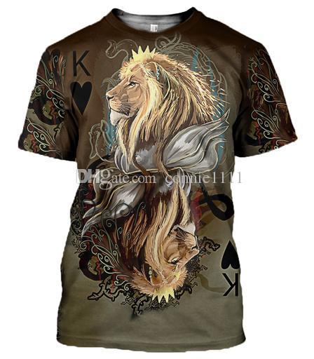 Women Men T Shirt 3D Crown Lion Print Tshirt Streetwear Fashion .