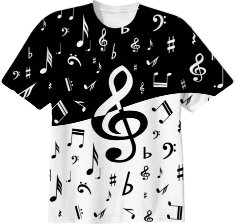 Black and White Music Notes | Music notes, Printed shirts, Black .