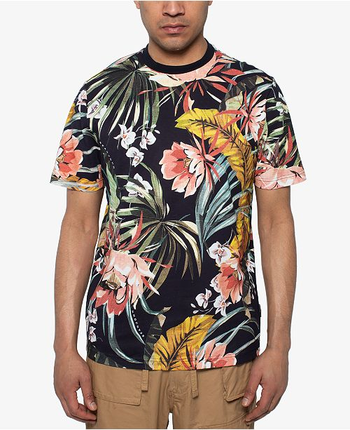 Sean John Men's Deep Floral Printed T-Shirt & Reviews - T-Shirts .