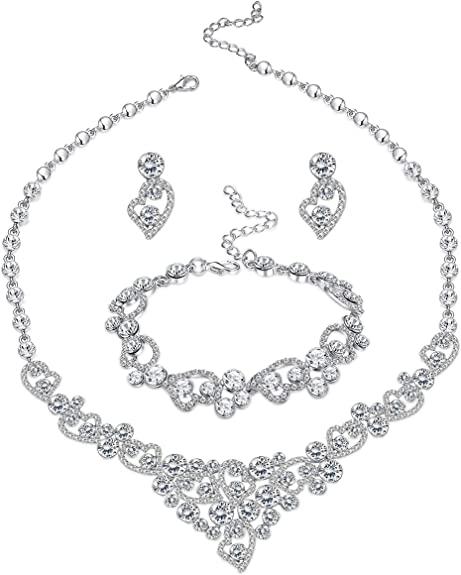 Amazon.com: LOYALLOOK Silver-Tone Crystal Heart Bridal Bridesmaid .