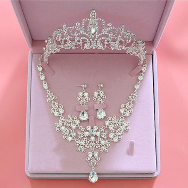 Fashion Crystal Wedding Bridal Jewelry Sets Tiara Crown Earring .
