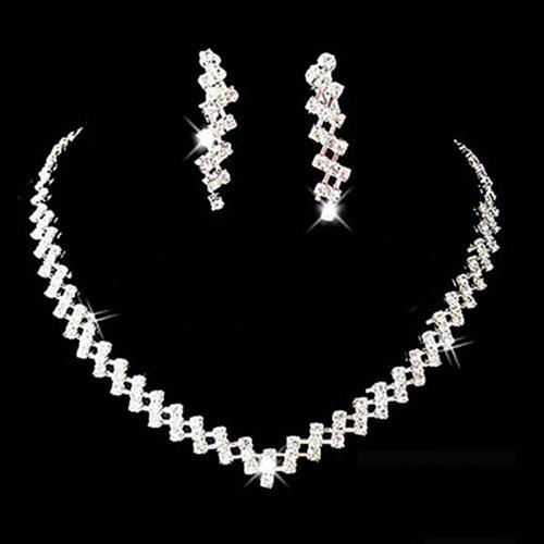 Women Necklace Earring Set Bridal Wedding Prom Jewelry Shiny .