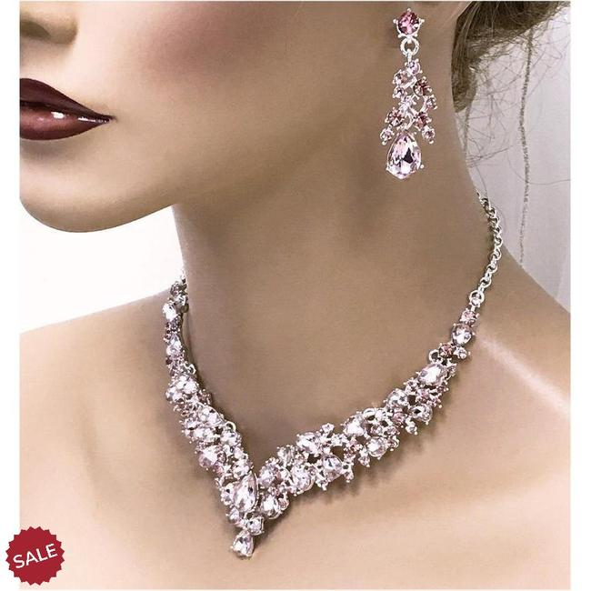 V Shape Bridal Jewelry Set, Bridal Necklace Earrings, Prom Jewelry .