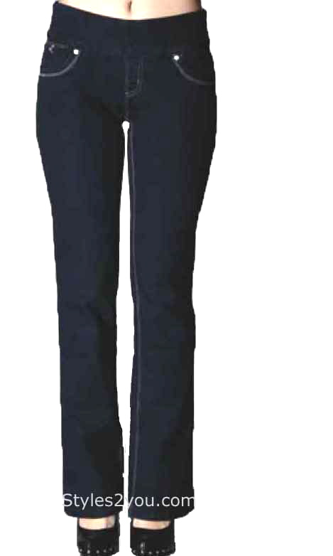 Lola Jeans Leah Bootcut Pull On Denim Jeans In Dark Blue [LEAHRB .