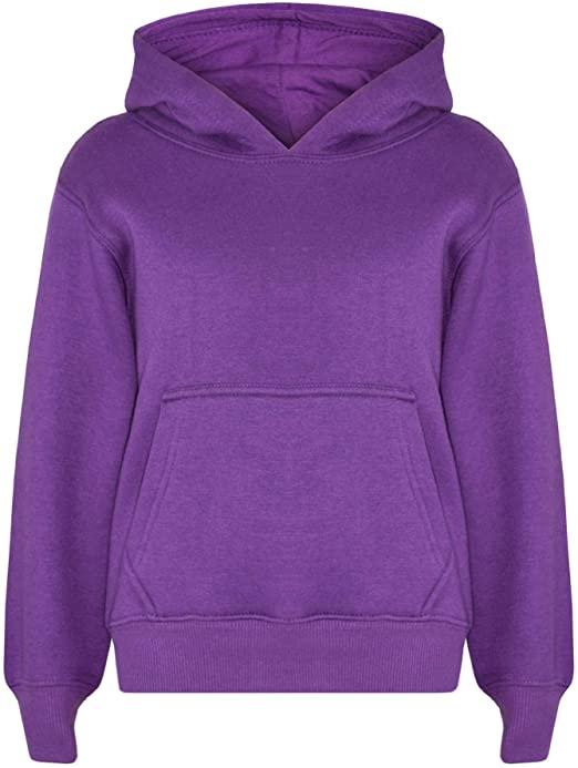 Amazon.com: Kids Girls Boys Sweatshirt Tops Plain Purple Hooded .