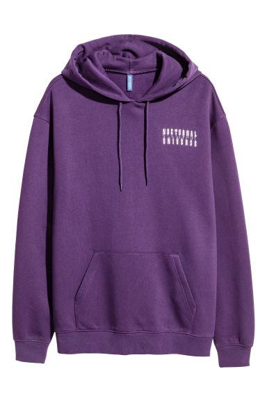 Hoodie with Motif - Purple - Men | H&M