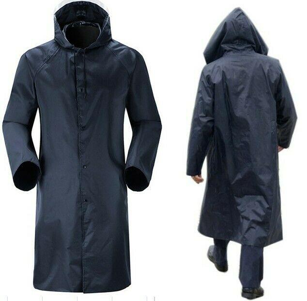 New Mens Womens Waterproof Raincoat Long Trench Unisex Rain Coat .