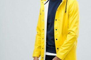 ASOS DESIGN shower resistant rain coat in yellow | Mens fashion .