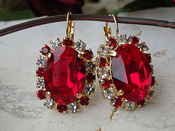 Ruby Red Earrings Gold Red Swarovski Earrings Red Oval | Et