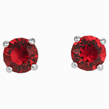 Attract Stud Pierced Earrings, Red, Rhodium plated | Swarovski.c