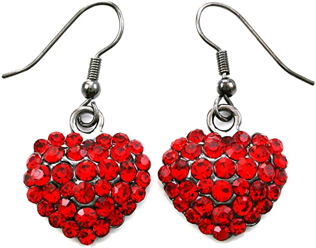 Amazon.com: Valentine's Day Red Heart Earrings Love Be Mine Dangle .