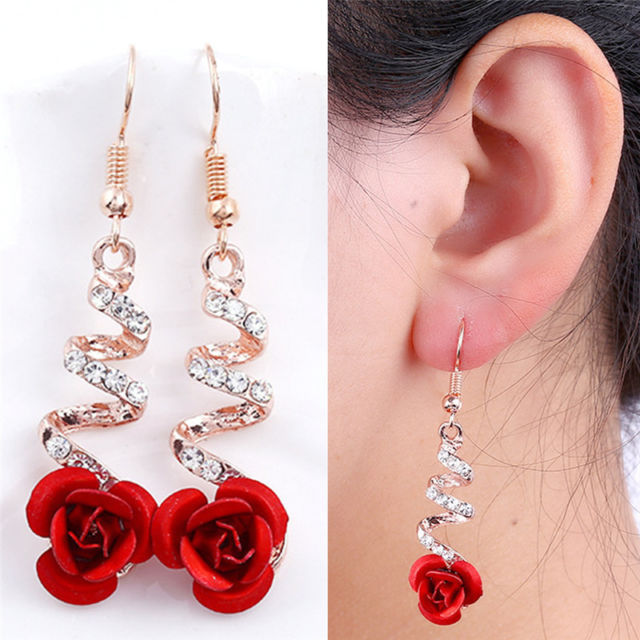 Red Rose Flower Crystal Dangle Drop Earrings Hook Party Bridal .