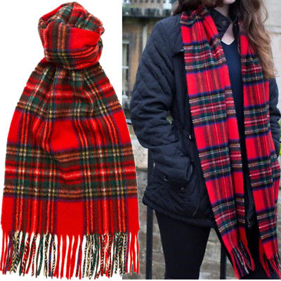 Royal Stewart For Womens 100% CASHMERE Scotland Red Check Plaid .