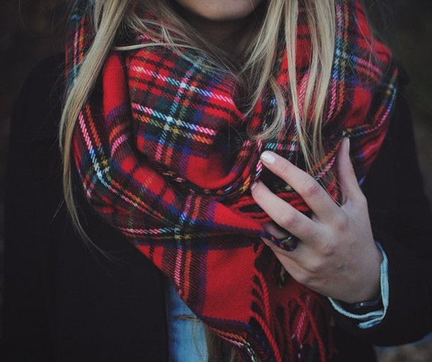 scarf, red, fashion, tartan, plaid, flannel scarf, tartan scarf .