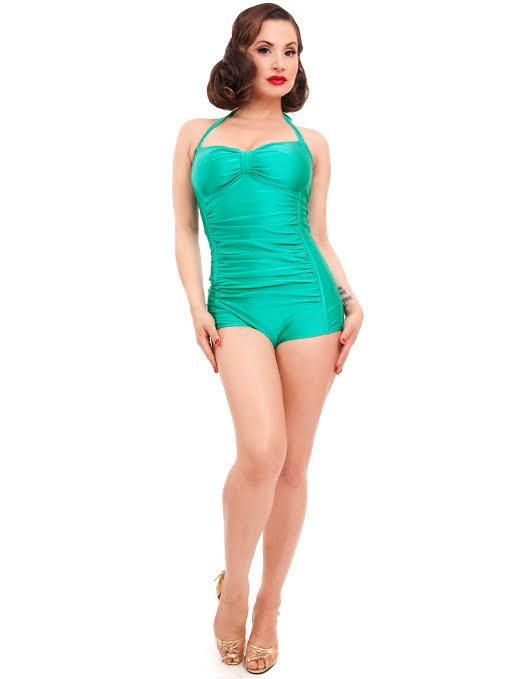 Nancy Retro Bathing Suit by Steady Clothing - in green - SALE Plus .