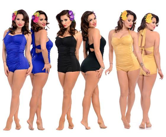 Nancy Retro Bathing Suit by Steady Clothing - choose gold or royal .