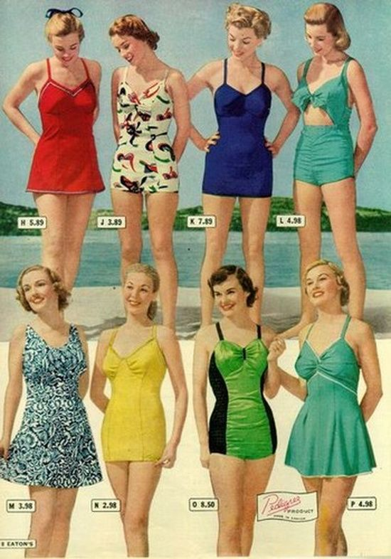 swimsuits, 1948. I would wear any of these. I don't understand why .