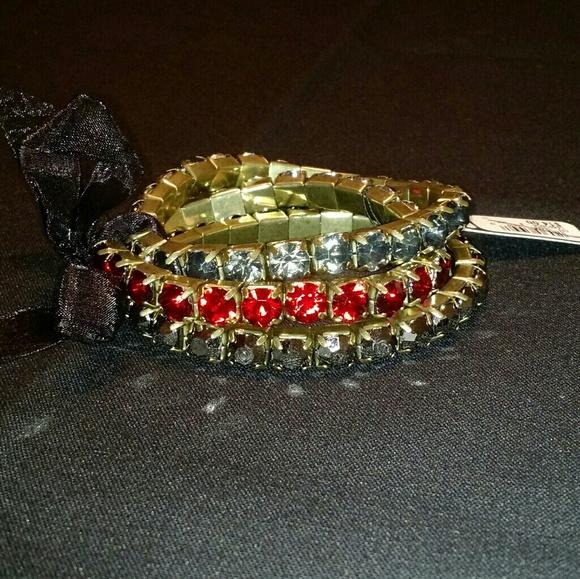 Avenue Jewelry | Stretchy Red Black Gray Rhinestone Bracelets Nwt .