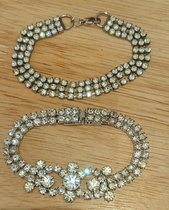 Two vintage rhinestone bracelets | Et