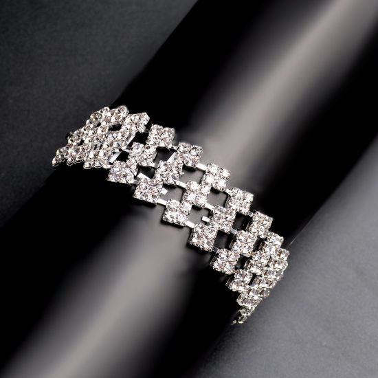 China New Women Sparkly Crystal Rhinestone Bracelets Silver Plated .