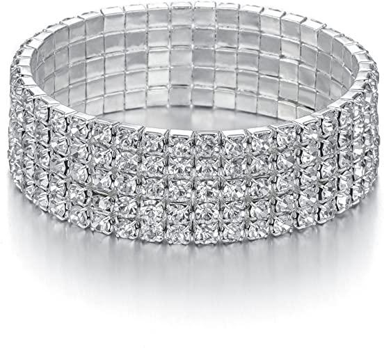 Amazon.com: JEWMAY Yumei Jewelry 5 Strand Rhinestone Stretch .