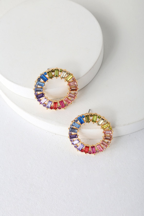 Rainbow Rhinestone Earrings - Glass Earrings - Circle Earrin