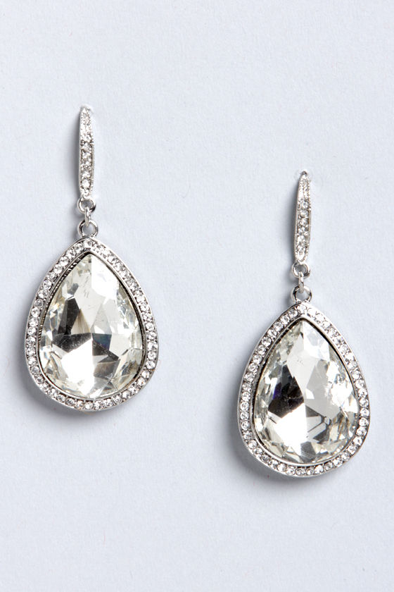 Cute Teardrop Earrings - Rhinestone Earrings - Silver Earrings .