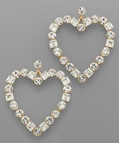 Heartbreaker Rhinestone Earrings – Honey and Rowe Boutiq