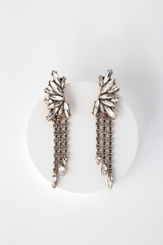 Stunning Gold Earrings - Rhinestone Earrings - Statement Earrin