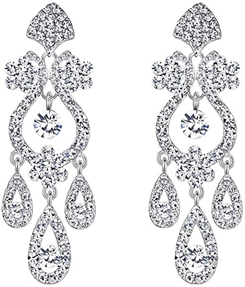 Amazon.com: Chandelier Rhinestone Earrings Bridal Long Drop Womens .