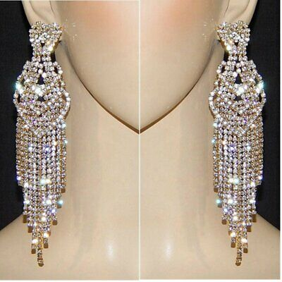 "5.2"" Heart Crystal Rhinestone Earrings GoldTone Clear Silver ."