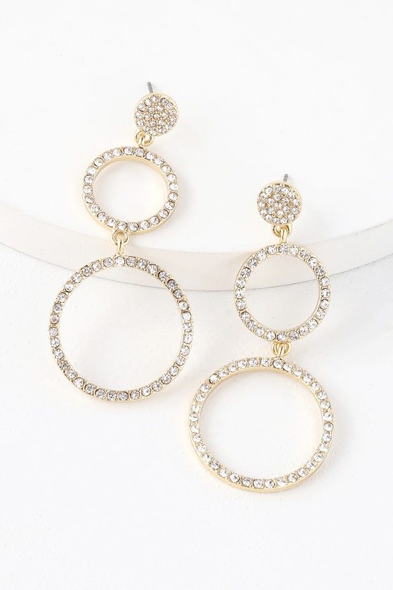 Lovely Gold Earrings - Rhinestone Earrings - Circle Earrin