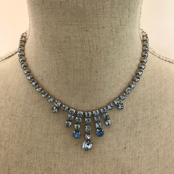 by Gale Jewelry | Vintage Rhinestone Necklace Blue | Poshma